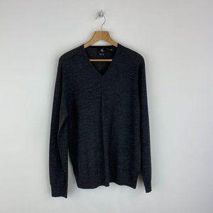 CALVIN KLEIN Dark Gray V- Neck 100% Wool Sweater
